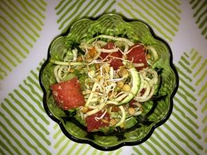(Recipe) Zucchini Pasta and Watermelon Salad